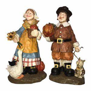 Vintage Pilgrim Man Woman Cat Statue Thanksgiving